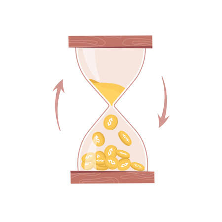 Hourglass, sand or time turns into money isolated business countdown flat cartoon icon. Vector time management, sandglass with coins of gold counting and measuring profit, flow of income