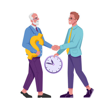 Exchange of time and money, employer and employee, beneficial cooperation isolated young and adult flat cartoon characters. Vector enrichment and pension, old earned a lot, teenagers time management