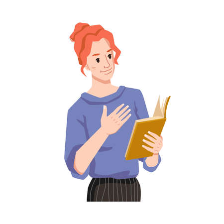 Girl empathizes reading book isolated woman flat cartoon character feeling with book, enjoying novel or poetry. Educated european or american lady with literature in hand, studying or leaning female