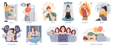 People suffering from mental disorders and illnesses. Bulimia and anorexia, stress and depression, aggressive emotions and anxiety. Schizophrenia and bipolar, personality and sleep problems, vector Vecteurs