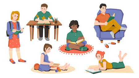 Happy children read books set. Vector girl reading book while sitting on carpet. Boy doing homework at table, pupil with rucksack. Afro american schoolgirl, hobby leisure time, flat cartoon characters