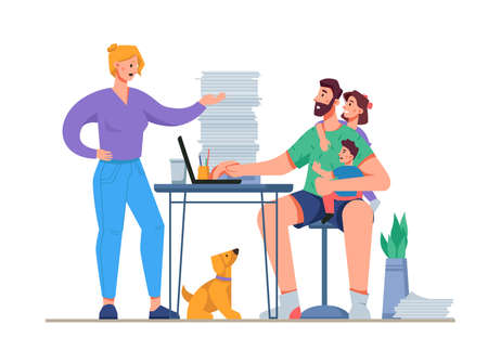 Freelancer man working from distracted from work with family life, shouting wife, kids and pet. Isolated employee sitting by computer with lots of papers. Cartoon character, vector in flat style