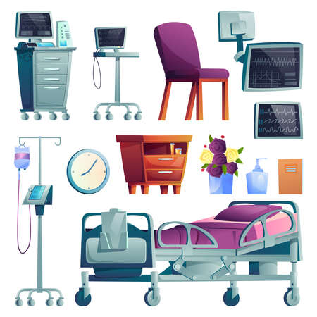 Hospital ward interior and equipment set of cartoon icons. Vector medical post-operation recovery bed, monitors for patient supervision, clinic furniture, dropper and clock, computer and folder