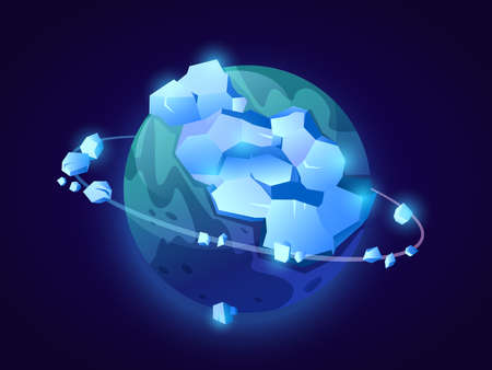 Frozen planet with orbit, icebergs and icy peaks. Fantasy celestial body in outer space, universe exploration or fiction. Constellation or meteor floating in cosmos. Cartoon vector in flat style