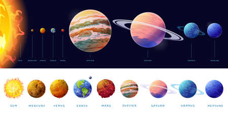 Planets of Solar system size comparison, list of spheres and text. Vector rocky Mercury, Venus and Earth, Mars. Outer space gas giants Jupiter and Saturn, ice Uranus and Neptune, Pluto, Sun Illusztráció