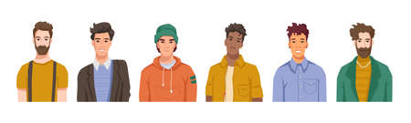 Portraits of male personages, isolated set of men belonging to different cultures, races and nationalities. Fashionable and handsome boys and trendy guys. Cartoon character, vector in flat style Ilustracje wektorowe