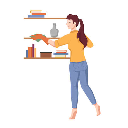 Woman wipes dust on shelves isolated flat cartoon character. Vector housework household, housewife tidy up room, clean furniture in house by duster. Dirty shelf with books, vase, housekeeping concept Vector Illustration