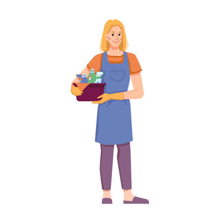Female personage from cleaning service tidying home, office or hotel room. Isolated Cleaner staff in uniform holding detergents and cloth for wiping dust. Cartoon character, vector in flat style