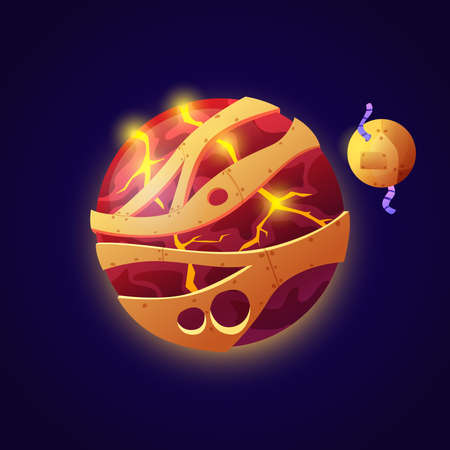 Iron planet and satellite, fantasy or fiction celestial body made of iron and hot solidified lava. Universe and outer space exploration, asteroid or unknown meteor. Cartoon vector in flat style Stock fotó - 163303528