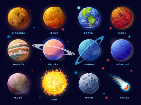Solar System planets set. Moon, Sun and comet icons isolated on starry sky background. Vector outer space gas giants Jupiter and Saturn, ice Uranus Neptune, Pluto. Rocky Mercury, Venus and Earth, Mars