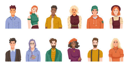 Portraits of people from different cultures and nations. Isolated set of males and females, positive youth or adults wearing hipster cloth. Diverse personages. Cartoon character, vector in flat style Stock fotó - 163303537