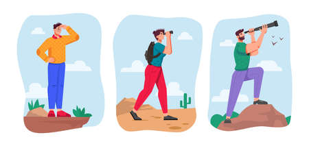Business future vision and looking for opportunities for company. Set of leader searching success in distance. People with binoculars and spyglasses in desert. Cartoon character, vector in flat style