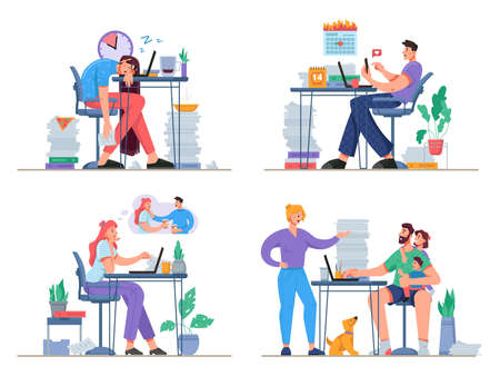 Problems while working from home. Freelancers distracted by family, social media. Stressed and exhausted people thinking of team buildings or sleeping. Cartoon character, vector in flat style