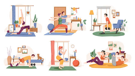 People working out at home, isolated set of personages leading active lifestyle. Training male and female, yoga and pilates, push ups and weightlifting. Cartoon character, vector in flat style
