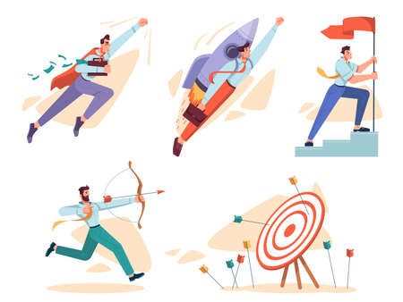 Goal and business mission for achievement. Isolated set of personages hitting target, flying life superhero with money, setting flag and using rocket. Cartoon character, vector in flat style