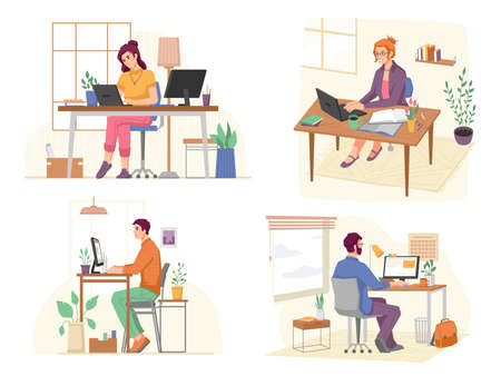 Freelancers using laptops and computers to work in home office. Isolated set of people looking at screens and typing data. Different angles of workplaces. Cartoon character, vector in flat style