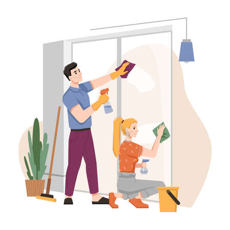 Couple washing windows at home together. Vector housework chores, husband and wife doing house work domestic duties. Family cleaning and tidying up flat, housekeeping routine, people in gloves