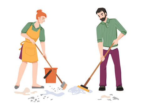 Housework, couple sweeping, cleaning in room, woman sweeps and man mops the floor isolated. Vector husband and wife doing housework household chores together, cleaning room in apartment Illusztráció