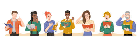 People reading books different emotions of surprise and interest, shock and empathize. Vector multi ethnic man and woman with novels or poetry in hands, feelings of flat cartoon characters, literature Illusztráció