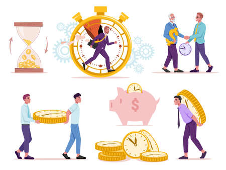 Set of time and money concept. Vector sand glass with golden coins, man running in stopwatch, old and young people exchanging resources, watch in shape of coins, piggy bank and dollar sign