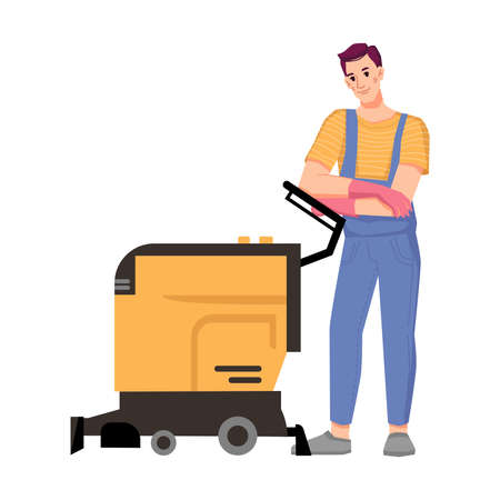 Male personage working in cleaning service using machine for washing floor or vacuum carpets. Home or office, hotel room tidying and care for cleanliness. Isolated cartoon character, vector in flat Illusztráció