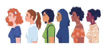 Women of different nationalities side view flat cartoon portraits. Vector multiculturalism, multiracial, feminism concept. Diverse of people, european, arabian and afro american girls, skin colors