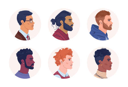 Profile portraits of multiracial men isolated flat cartoon people. Vector multicultural and multiethnic group, caucasian, afro american and arabian set. Mixed interracial community, guys side view Vektorové ilustrace