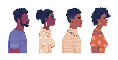 Diverse people, afro american men and women side view portraits, flat cartoon. Vector ebony, black african, mulatto and creoles. Multiracial group with curly hair, Africa ethnicity population