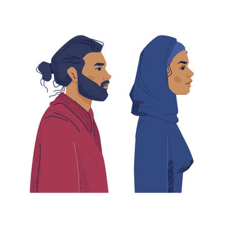 Muslim people profile portrait of diverse people. Man and woman wearing hijab, islam and arabic culture nationality. Multi ethnic and multicultural diversity. Cartoon characters vector in flat