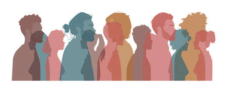 Diverse people from different countries, nationalities and cultures. Diversity of males and females. Silhouette profile portrait of citizen. Unity and society. Cartoon characters, vector in flat style