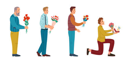 Male personages giving flowers and bouquets, isolated men of all ages on date. Guy ready to propose to marry, person with engagement ring. Dating and celebration. Cartoon characters, vector in flat Illusztráció