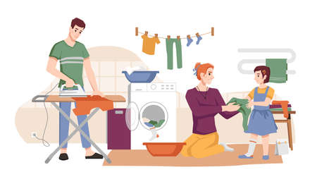 Family washes clothes, dries and iron apparel flat cartoon characters. Vector mother, father and daughter doing laundry, man ironing t-shirt in board. Housework household chores, routine home work
