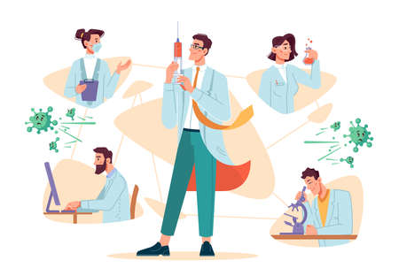 Scientists working on creating and testing vaccine against  virus disease. Laboratory workers and doctor with syringe ready to give shots to patients. Cartoon characters, vector in flat style