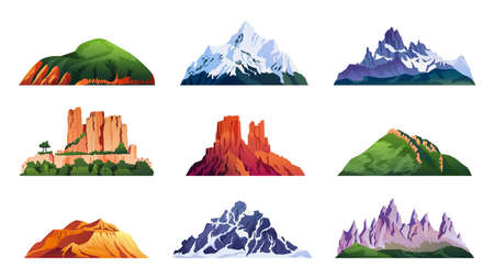 Mountain ridges set isolated iceberg tops and hills, cartoon rocky landscapes. Vector snowy alpine cliffs, climbing and hiking sport symbols. China and Japan mounts, volcano craters and ranges Ilustração