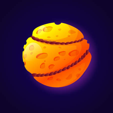 Moon and cheese like fantasy planet tied with ropes or chains. Isolated universe celestial body design, Asteroid or meteor with crates and bumps on cosmic surface. Cartoon vector in flat style Illusztráció