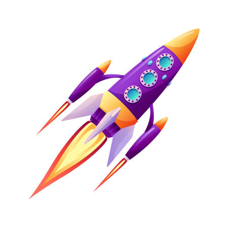 Space ship launch rocket with fire trace at startup isolated cartoon icon. Vector spacecraft liftoff, booster in flight. Takeoff of rocket ship, spacecraft on speed. Start of business, new project Illusztráció