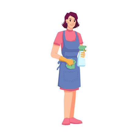 Woman from cleaning company using cloth, rubber gloves and detergent for tidying space. Isolated maid or janitor for home, hotel or office. Sanitary cleanliness. Cartoon character, vector in flat Illusztráció