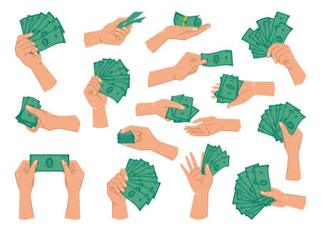 Green dollar banknotes in hands, isolated set of palms with paper money for paying. Giving loan, saving financial assets or exchanging, wealthy person with cash. Flat cartoon style vector illustration