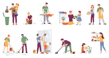 Cleaning people set isolated man and woman with children doing housework chores. Vector couple washing window, ironing, doing laundry, sweeping floor, watering plants, take out rubbish, vacuum cleaner Illusztráció