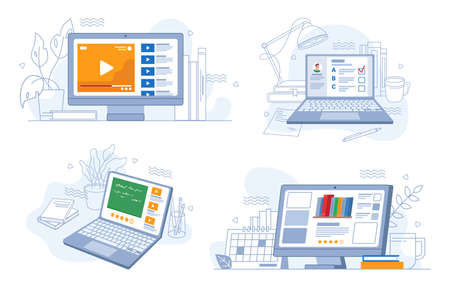Online webinars trainings and work, e-learning set, flat cartoon. Vector video tutorials, tests on distance education, rating knowledge marks, studying and learning using modern computer technologies