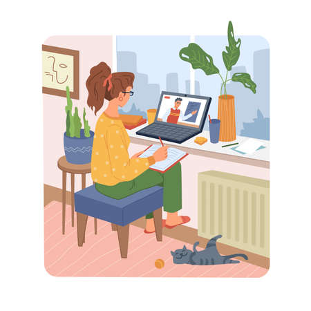 Online education, woman student at home studying learning on computer, distance education in flat. Vector cartoon girl sitting on chair near laptop and making notes, cat pet lying on floor, window