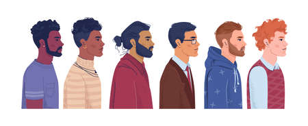 Multiracial men profile portrait of male characters of different nationalities and countries. Diverse community, social equality and ethnicity. Caucasian, afro american and arab cartoon vector