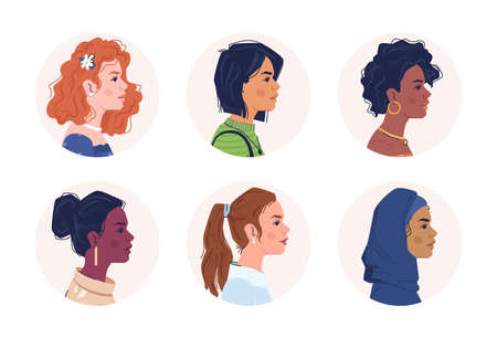 Profile portraits of multiracial women. Multicultural and multiethnic people. Caucasian, afro american, arab female personages. Mixed interracial community. Cartoon characters, vector in flat style