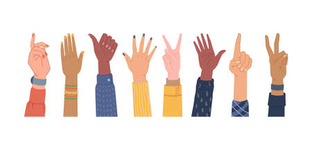 Diversity hands different gestures isolated set. Vector colorful palms, equal and diversity skins, multi ethnic community. Voting and pointing, hi-five, number one finger, thumb up, election vote sign Illusztráció