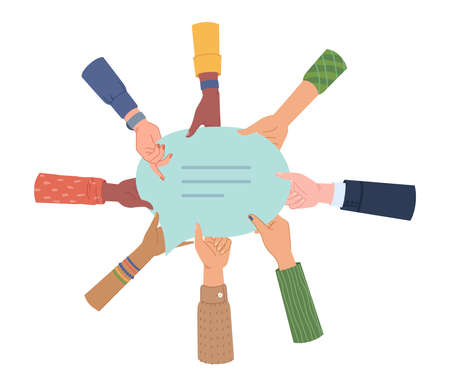 People hands holding chat message or speech bubble isolated. Vector diverse group of man and woman holds blank social media communication symbol. Partnership and togetherness, online chatting