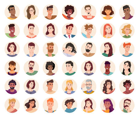 People portraits and emotional faces icons set. Vector group of men and women. Diversity of personages, multiethnic society. Cartoon characters expressing emotions laughter and joy, smile, calmness