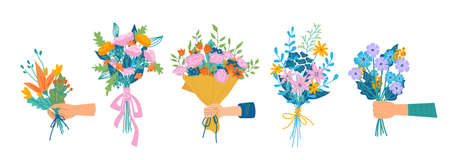 Floral composition in bouquet, isolated set of hands holding flowers in blossom. Botany and decoration. Decorative botany, flora and branches with petals and leaves, vector in flat cartoon style