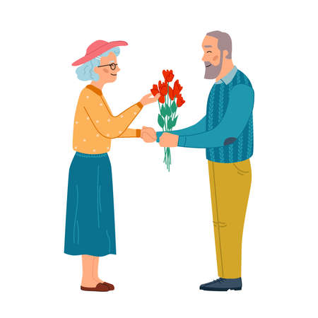 Man give flowers to woman, elderly couple in love isolated flat cartoon characters. Vector mature couple in love, dating grandmother and grandfather. Romantic relationships of aged people