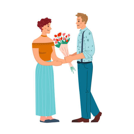 Man give flowers to woman isolated flat cartoon characters. Vector dating caucasian couple, husband giving bouquet to wife on 8 March, Valentines day or Birthday holiday, anniversary or engagement