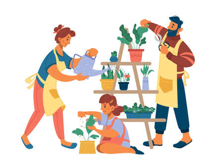 People mother father and girl planting flowers at home isolated flat cartoon characters. Vector wife watering plants, husband cutting leaves by cutters, daughter fertilize plant, hobby leisure time